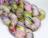 Hand Dyed Speckled Sock Yarn - SW Sock 80/20 - Superwash Merino Nylon - 400 yards - Garden Wizard
