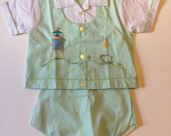 SALE Baby Boys 2 Piece Outfit Set, Shirt and Shorts, Vintage 1980s Baby Boys Outfit Size 18 Months, Retro Mini Togs Diaper Cover and Shirt