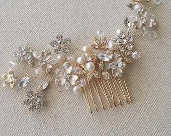 Gold Bridal Comb, Wedding Hair Comb, Bridal Hair Comb, Pearl Hair Comb