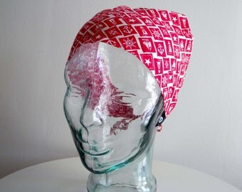 Red NAUTICAL 50s / 60s picnic kercheif head scarf OS