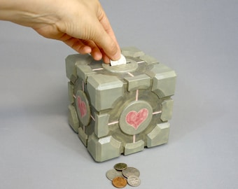 Companion Cube Ceramic Coin Bank