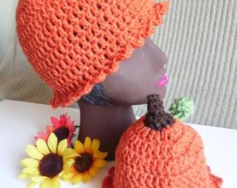 Pumpkin Beanie Hat, Pumpkin Baby Hat, Photo Prop, Newborn Baby Beanie