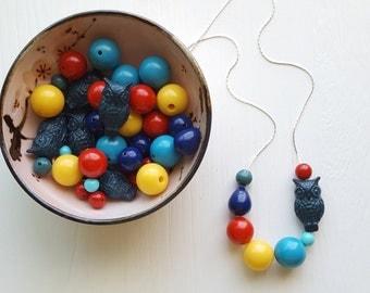 rainbow moon necklace - vintage lucite
