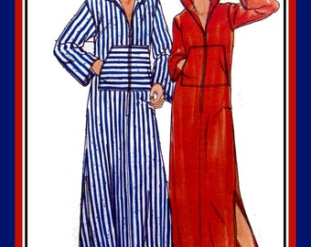 Vintage 1970s-LONG HOODIE CAFTAN-Sewing Pattern-Long Front Zip-Front Muff Pockets-Easy-Loose Fit-Side Slits-Topstitching-Size 8-10-Rare