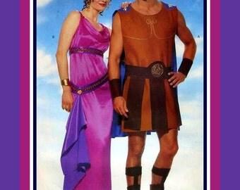 GLADIATOR-GODDESS-Costume Sewing Pattern-Mens Tunic-Cape-Leg Bands-Belt with Panels-Fitted Dress-Bias Drapery-Belt-Slit-Uncut-All Sizes-Rare