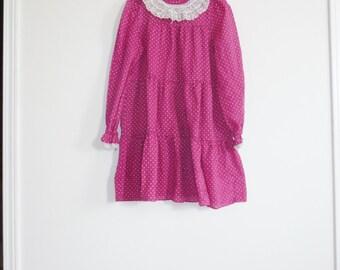 Vintage Fuchsia Polka Dot Dress