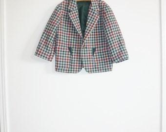 Vintage Plaid Wool Children's Blazer
