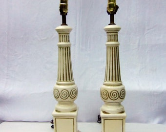2 Vintage Mid Century Ceramic Lamp Ionic Column Pedestal Belly Scroll Design