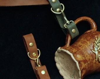 Mug Frog, stein/Cup Hook, Steampunk mug holder, Brown, black, tobacco leather, antique brass or silver for SCA/LARP Renfaire MyFunkyCamelot