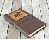 Large Moose Journal, Leather Sketchbook, Rustic Travel Journal