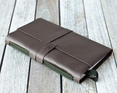 Brown Leather Journal with Green Ribbon Bookmark