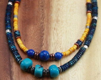 SALE. Stackable Necklaces - Chokers. Around The World. Turquoise, Aragonite, Chrysocola, Labradorite,  Pearls Gemstone Necklaces