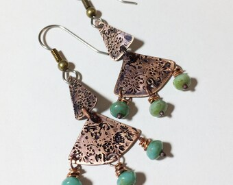 Etched Copper Earrings with Czech Glass Beads