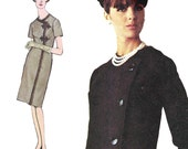 Mod Single Breasted Coat Dress! Vintage ©1965 Simplicity Sewing Pattern 6163 Misses' One-Piece Dress, Size 14, Uncut with Factory Folds
