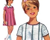 Girl's Dress with High Round Neckline! Vintage ©1967 Simplicity Sewing Pattern 7035, Girls' One-Piece Dress, Size 10, Uncut w/ Factory Folds