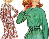 Modest Dress with Pin Tucks! Vintage ©1978 Simplicity Sewing Pattern 6297 Misses' Dress or Top & Skirt, Size Medium, Uncut w/ Factory Folds