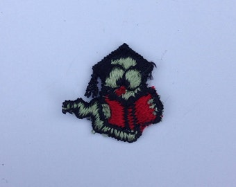 Book Worm Patch Embroidered Patch Vintage 1980s Tiny Emblem