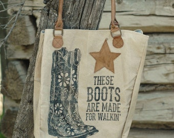 THESE BOOTS are made for walkin' canvas shoulder tote bag
