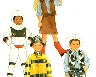 Child Fireman, Spacesuit Astronaut, Cowboy, Cowgirl Halloween Costume Sewing Pattern Butterick 3244 Girls Boys Children Size 6 7 8 Missing