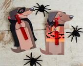 Weenie Dog Halloween Printable Dachshund Puppy weiner dog Non Candy, Pencil halloween, bubble halloween, glow stick, or candy hugger