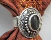 Vintage sterling ring with onyx, Vintage Onyx ring, Vintage Mexican ring, Seventies ring