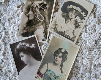Antique theatre stars photo postcard lot, girl with head dress, French actress photo postcard, Edwardian actress photo postcard