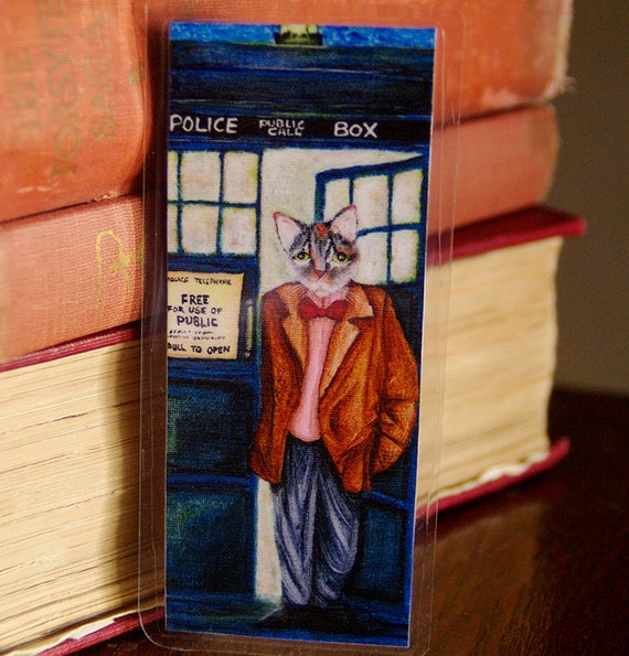 Time Travelling Doctor Cat Bookmark, Tabby Wearing Bow Tie, Police Box Paper Bookmark