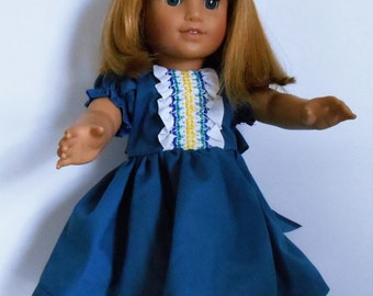 """Cobalt blue dress with smocked trim and puffed sleeves fits 18"""" dolls like American Girl"""