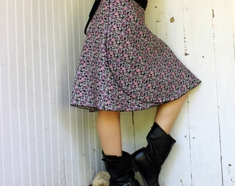Hemp Floral Wrap Skirt - 100% Hemp - Organic Fabric - Made to Order - Eco Fashion