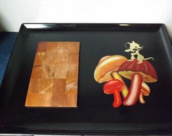 Vintage Mouse & Mushroom Melamine Tray Japan