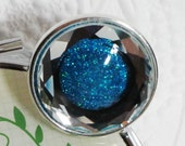 Blue Glitter and Faceted Crystal Silver Ring