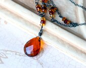 Deep Madeira Quartz Necklace with Gemstones on Oxidized Sterling Silver - Brandywine by CircesHouse on Etsy