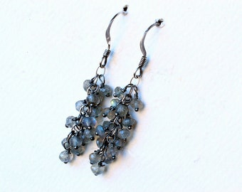 Labradorite Earrings on Oxidized Sterling Silver - Seafoam Cascade by CircesHouse on Etsy