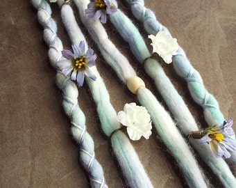 5 Dewdrop Flower Maiden Tie-Dye Wool Synthetic Dreadlock *Clip-in Extensions Boho Dreads Hair Wraps & Beads Custom