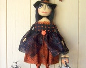 PriMiTiVe Halloween Dressy Witch Art Doll Large Folk Art Collectible Goth-Head Witch Hanger or Sitter ofg hafair faap
