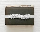 White wedding garter, beaded lace bridal garter, leaf garter, white garter belt - style #544
