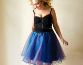 Ballerina Organza Skirt in Blue, Tutu Midi Fairy Skirt, Party Prom Bridesmaids, Plus Sizes and Custom Colors available