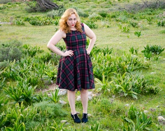 Tartan Retro Dress, Vintage Inspired 50s Wool Dress, Violet and Green Plaid, custom colors and sizes available