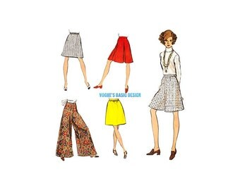 Womens Palazzo Pants Pattern, Vintage Vogue 2167, 1960s Wide Leg Pants, Pantskirt, A Line or Dirndl Skirt Sewing Pattern, Waist 29
