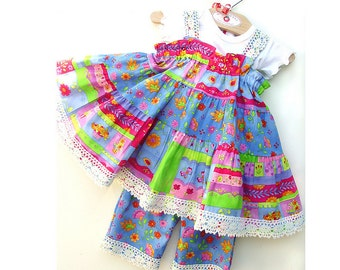 Colorful Baby Girl Clothes First Birthday Baby Girl Outfit Cotton Baby Dress Size 3 6 9 12 or 18 months First 1st Birthday Dress Pink Blue