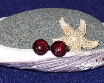 Longer Post Red Garnet 6mm Round Stud Earrings Earings Titanium Ear Post and Clutch Hypo Allergenic