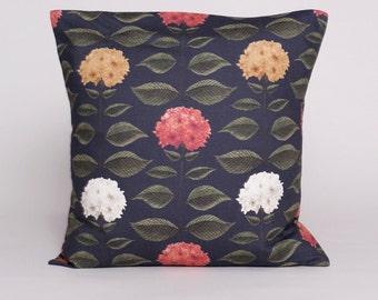 Hydrangea cushion cover - Navy - Square