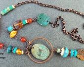 Primitive Tribal Copper Leaf and Deer Necklace , Glass Turquoise Fiber Gemstone Mixed Media Gypsy Style Necklace