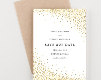 Gold Confetti Save The Date, Bridal Shower, Wedding Invitation
