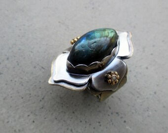 Lotus Ring with Labradorite, Chakra Work, Protective, Mystical, Zen, Energy Worker, Healer, Chakra Balancing, Adjustable Size 5.5 - 7.5