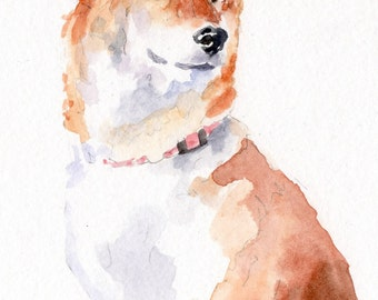 FINNISH SPITZ Original Watercolor Double Matted 8x10 Ready to Frame