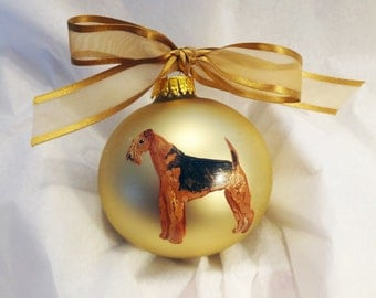 Airedale Terrier Dog Hand Painted Christmas Ornament - Can Be Personalized with Name