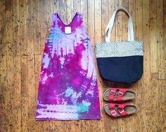 Sleeveless Cotton Tie Dye Dress. Purple Tank Dress Woman. Beach Coverup Purple. Swimsuit Cover Up Magenta. Hipster Dress Women.