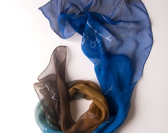 Hand painted silk chiffon scarf with silver leaves. Blue brown transparent scarf. Unique handmade gifts/ Woman fashion scarf/ Birthday gift