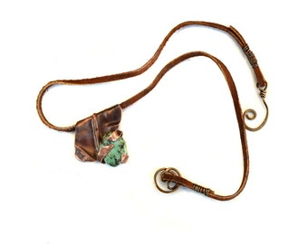Artisan Hammered Metal Necklace Copper Pendant African Turquoise Stone Suede Cord